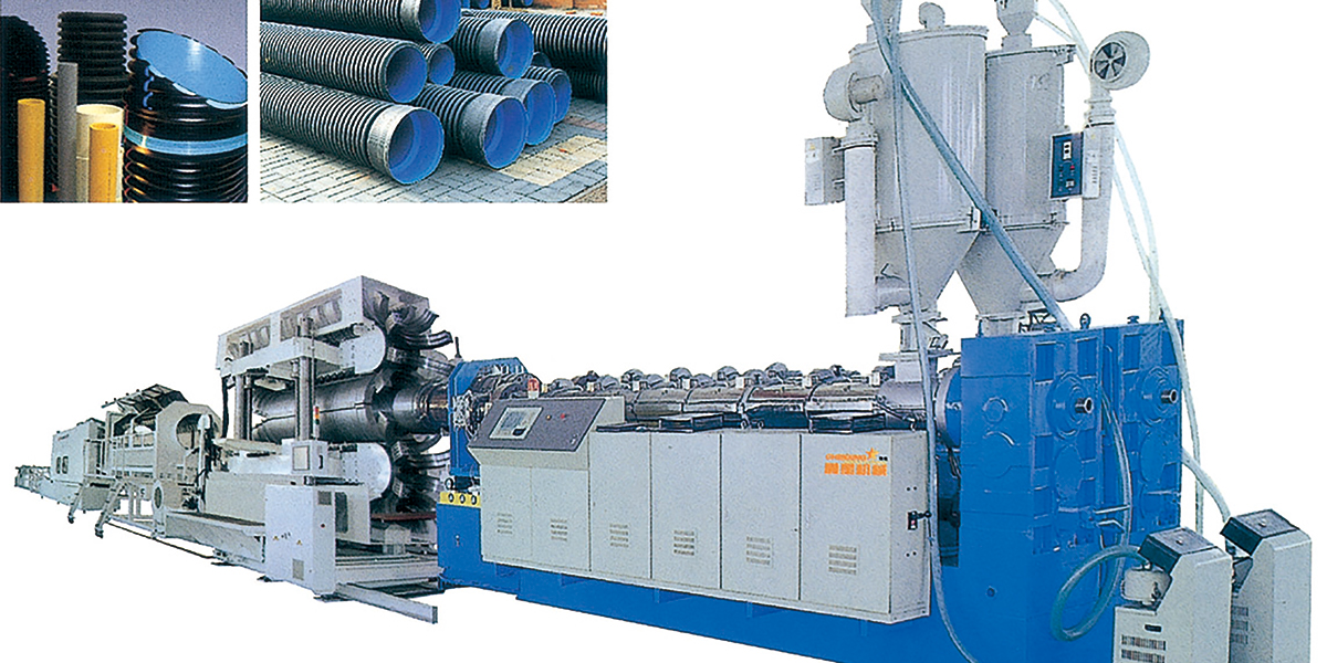 Extrusion line of double-wall bellows